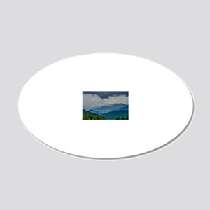 Mountains Landscape 20x12 Oval Wall Decal