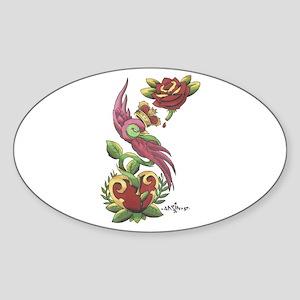 Swallow Crown Tattoo Oval Sticker