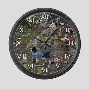Reflective Coot Large Wall Clock
