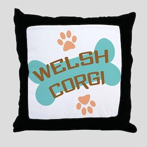 welsh corgi retro bone Throw Pillow