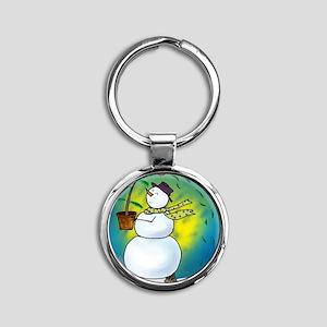 O Christmas Tree Snowman Round Keychain