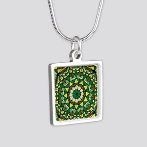 Stained Glass Geo Labyrint Silver Square Necklace