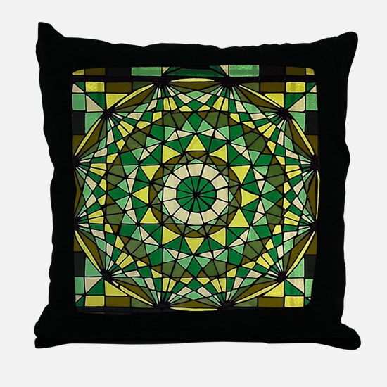 Stained Glass Geo Labyrinth Throw Pillow