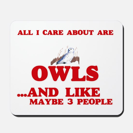 All I care about are Owls Mousepad