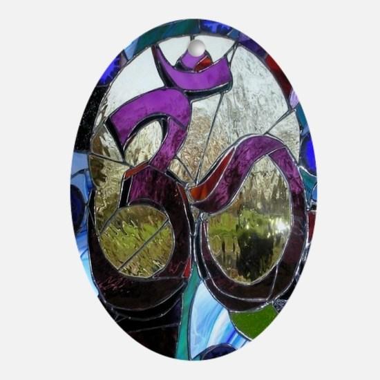 Sanskrit Om Wheel Oval Ornament