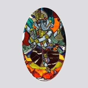 Stained Glass Ganesh 20x12 Oval Wall Decal