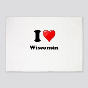 I Heart Love Wisconsin 5'x7'Area Rug