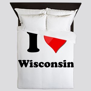 I Heart Love Wisconsin Queen Duvet