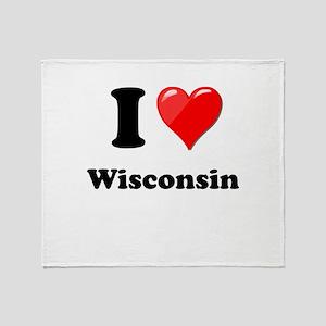 I Heart Love Wisconsin Throw Blanket