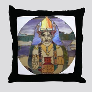 Stained Glass Dhanvantari Throw Pillow