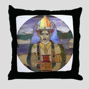 Stained Glass Dhanvantari Throw Pillow