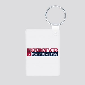 Independent Voter Red Blue Aluminum Photo Keychain