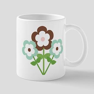 Mint Brown Flowers Mugs