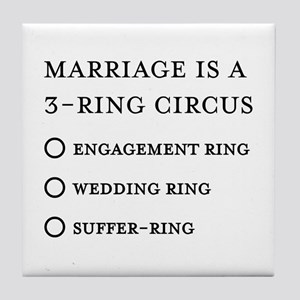 Marriage 3 Rings Tile Coaster