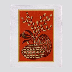 Vintage Russian Easter Card Throw Blanket