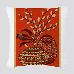 Vintage Russian Easter Card Woven Throw Pillow
