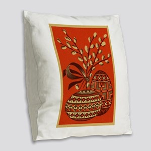 Vintage Russian Easter Card Burlap Throw Pillow