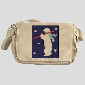 Polar Bear With Skies Messenger Bag