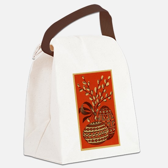 Vintage Russian Easter Card Canvas Lunch Bag