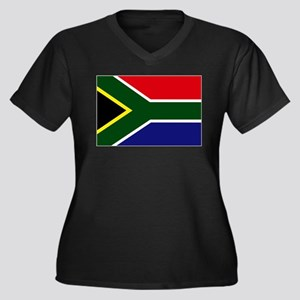 South African flag Women's Plus Size V-Neck Dark T