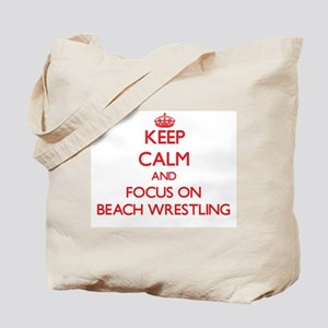 Keep calm and focus on Beach Wrestling Tote Bag