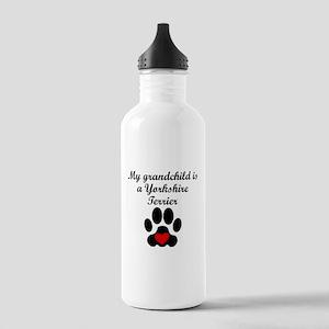 Yorkshire Terrier Grandchild Water Bottle