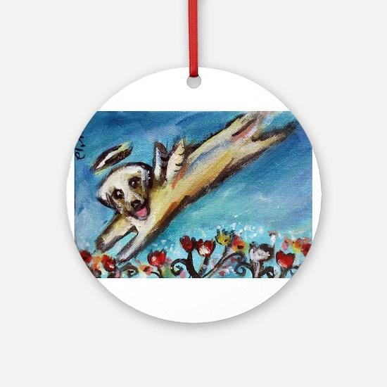 Yellow Labrador angel flys free Ornament (Round)
