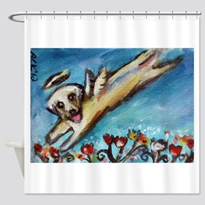 Yellow Labrador angel flys free Shower Curtain