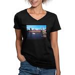London 8 Women's V-Neck Dark T-Shirt