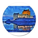 Castle at Christmas Round Car Magnet