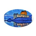 Castle at Christmas Oval Car Magnet