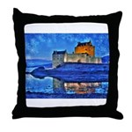 Castle at Christmas Throw Pillow
