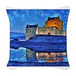 Castle at Christmas Woven Throw Pillow