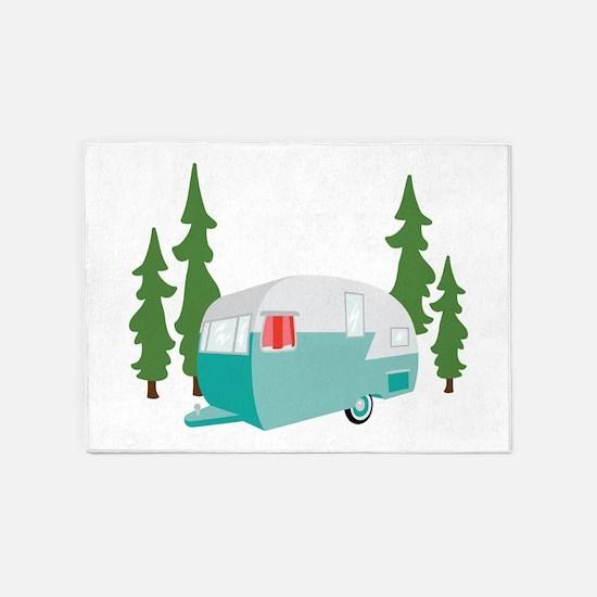 Camper Scene 5'x7'Area Rug
