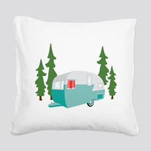 Camper Scene Square Canvas Pillow