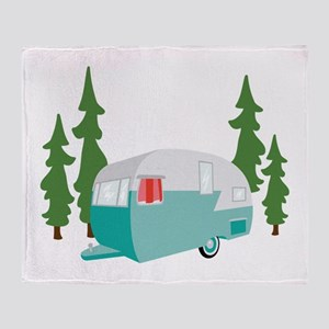 Camper Scene Throw Blanket