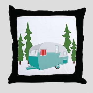 Camper Scene Throw Pillow