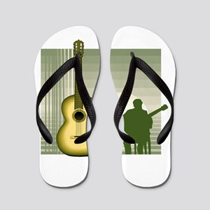 acoustic guitar player sitting yellow Flip Flops