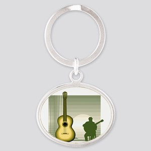 acoustic guitar player sitting yellow Keychains