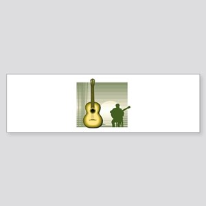 acoustic guitar player sitting yellow Bumper Stick