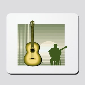 acoustic guitar player sitting yellow Mousepad