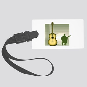 acoustic guitar player sitting yellow Luggage Tag