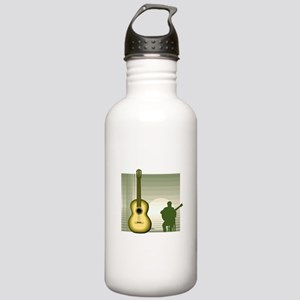 acoustic guitar player sitting yellow Water Bottle