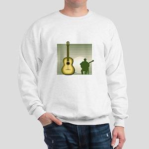 acoustic guitar player sitting yellow Sweatshirt