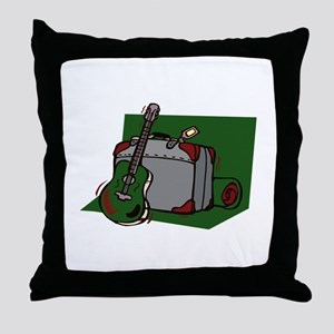 acoustic guitar suitcase green Throw Pillow