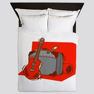 acoustic guitar suitcase red Queen Duvet