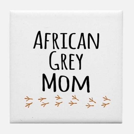 African Grey Mom Tile Coaster