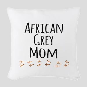 African Grey Mom Woven Throw Pillow