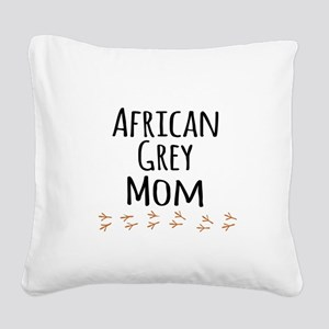 African Grey Mom Square Canvas Pillow