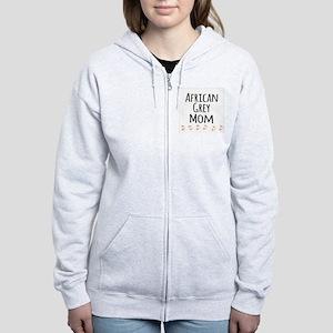 African Grey Mom Zip Hoodie